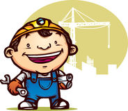 Happy Worker. Illustration of happy worker holding tool and paper Stock Photos