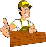 Happy worker. Illustration of a man with wood and thumb up Royalty Free Stock Image