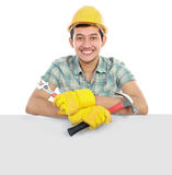 Happy worker and blank board Stock Image