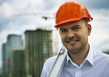 Happy engineer stock images