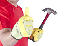 Happy worker with hammer Stock Image