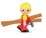 Happy worker with hammer and planks Royalty Free Stock Photo