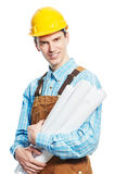 Happy worker in hardhat and overall with drafts Royalty Free Stock Images