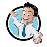 Happy worker with head set Royalty Free Stock Photography