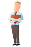 Happy worker holding a briefcase. Happy worker holding his briefcase with both hands Royalty Free Stock Images