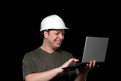 Happy worker with laptop Stock Image