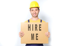 Happy worker looking for a job isolated on white Stock Photo