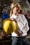 Happy worker in maintenance room Royalty Free Stock Image