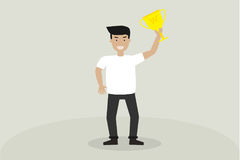 Happy worker man holding a winner prize trophy. Illustration business concept Royalty Free Stock Photography
