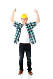 Happy worker presenting empty banner. Happy worker presenting empty banner ad Stock Images