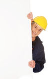 Happy worker presenting empty banner Royalty Free Stock Photography