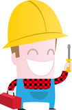 Happy worker with screwdriver. An illustration of a worker with a screwdriver and lunchbox Stock Photo