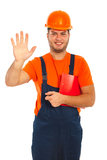 Happy worker showing five fingers Royalty Free Stock Photos