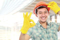 Happy worker showing ok sign Royalty Free Stock Images