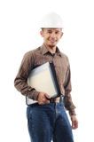 Happy worker smile while holding a file Stock Photo