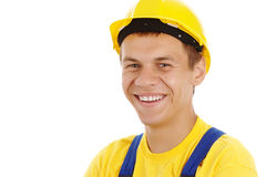 Happy worker wearing hard hat Royalty Free Stock Photography