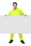 Happy worker wearing safety jacket Stock Image