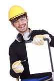 Happy Worker With Clipboard Stock Photography
