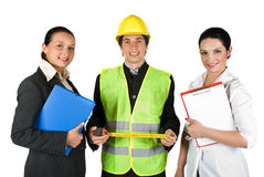 Happy workers. Group of three happy  workers with different careers isolated on white background,check out  Workers and tools Stock Photo