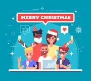 Happy workers are celebrating Christmas and New Year. Xmas party. Illustration for greeting card or banner. Vector. Happy workers are celebrating Christmas and Stock Photography
