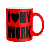 Happy workers,employees, staff - red mug isolated over white Royalty Free Stock Photography
