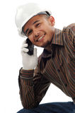 Happy workers smile when talk on mobile phone. Close up happy workers smile when talk on mobile phone isolated white background Royalty Free Stock Image