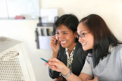 Happy working. Photograph of two woman at office Royalty Free Stock Images