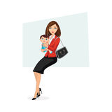 Happy Working Mom holding Baby. Illustration of happy working mom wearing formal office attire holding baby wearing blue cute clothes Stock Photography