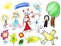 Happy World Child Drawing Royalty Free Stock Photography