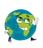 Happy World globe cartoon Stock Images
