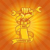 Happy world Labour Day in 1st may vector background. Labour Day simbolism concept hand with wrenches. International Workers day. Freedom hand of worker and Stock Photography