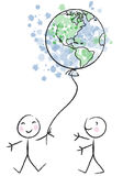 Happy world vector. Illustration of two kids playing with earth balloon + vector eps file vector illustration