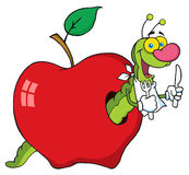 Happy worm in apple Royalty Free Stock Photo