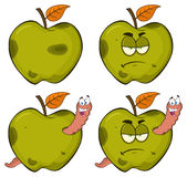 Happy Worm In A Grumpy Rotten Green Apple Fruit Cartoon Mascot Characters Series Set 2. Collection. Isolated On White Background Stock Image