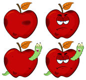 Happy Worm In A Grumpy Rotten Red Apple Fruit Cartoon Mascot Characters Series Set 1. Collection. Isolated On White Background Royalty Free Stock Image