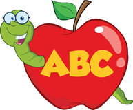 Happy Worm In Red Apple With Glasses And Leter ABC. Cartoon Character Stock Photos