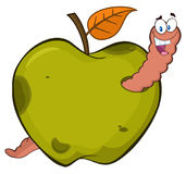 Happy Worm In A Rotten Green Apple Fruit Cartoon Mascot Character Design. Illustration Isolated On White Background Royalty Free Stock Images