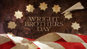 Happy Wright Brothers Day. Usa Flag Waves and Chart. Royalty Free Stock Photos