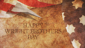 Happy Wright Brothers Day. Usa Flag and Wood. Paper Airplane Royalty Free Stock Image