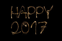 Happy 2017. Written with a sparkler isolated on black background Royalty Free Stock Photos
