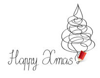 Happy Xmas!. Easy winter background with red pencil Royalty Free Stock Images