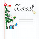 Happy Xmas!. Easy winter background with colored pencils Stock Photos