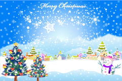 Happy xmas background in a village with snow all over the place - illustration eps10 Stock Images