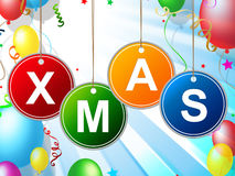 Happy Xmas Indicates Christmas Greeting And Celebrate Royalty Free Stock Photos