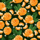 Happy xmas and new year. Fruit background. Fresh seamless pattern with tangerines, fir branches and snowflakes. Happy xmas and new year. Fruit background vector illustration
