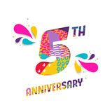 Happy 5 year anniversary paper cut greeting card. Happy 5 five year anniversary, fun paper cut number and text label design with colorful abstract hand drawn art Stock Images