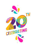 Happy 20 year celebration paper cut greeting card Stock Image