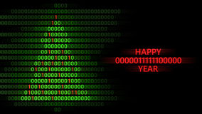 Happy 2016 year. 3d illustration of xmas tree and happy 2016 year binary code stock illustration