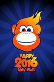 Happy 2016 year fiery monkey card. Royalty Free Stock Photos