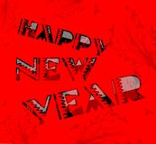 Happy year illustration in red tones Stock Image